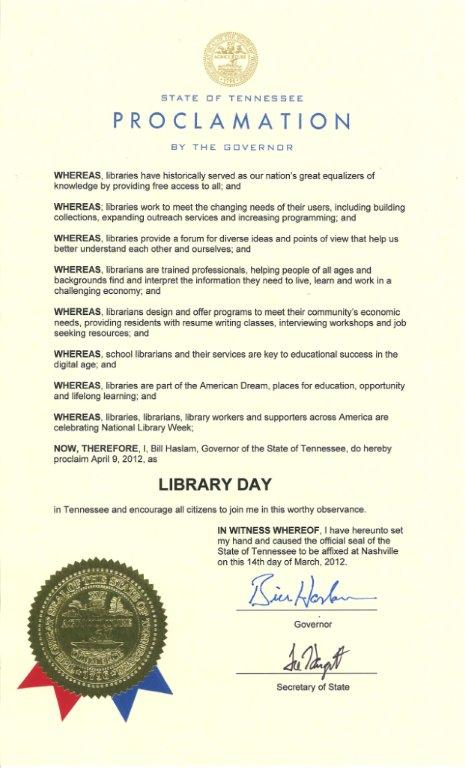 April 9 is Tennessee Library Day
